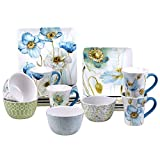 Certified International Corp 89065 Greenhouse Poppied Dinnerware Set, Multicolor