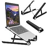 Laptop Stand for Desk, Elekin Foldable Laptop Holder, Adjustable Ventilated Laptop Stand, Ergonomic Mount for MacBook/PC/Notebook Computer/Tablet 11-17.3 Inch (Black)