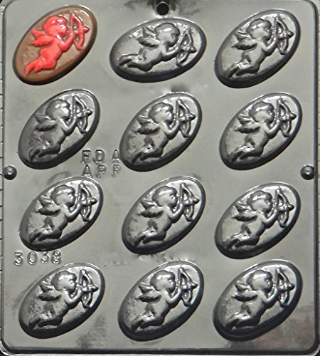(Cupid on Oval Plaque Chocolate Candy Mold Valentines Day 3038)