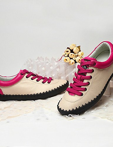 ZQ Scarpe Donna-Stringate-Casual-Comoda-Piatto-Di pelle-Nero / Beige / Fucsia , black-us6.5-7 / eu37 / uk4.5-5 / cn37 , black-us6.5-7 / eu37 / uk4.5-5 / cn37 beige-us7.5 / eu38 / uk5.5 / cn38