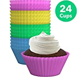Kyпить Vremi Silicone Muffin Liners 24 Pack - Colorful BPA Free Nonstick Reusable Baking Cups Cupcake Liners in Pink Yellow Blue Green - Standard Silicone Muffin Cups Rainbow Bake Molds for Birthday Fun на Amazon.com