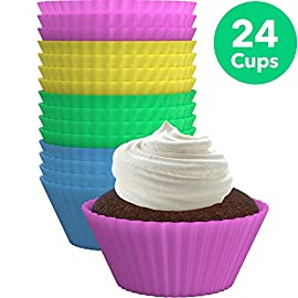 Vremi Silicone Molds Cupcake Baking Cups 24 Pack - Multi Color Reusable Muffin Cup Liners - BPA Free Rainbow Cupcake Wrappers - Nonstick Quick Release Cup Cake Molds for Parties - Dishwasher Safe 3 SILICONE BAKING CUPS 24 PACK - Round standard size cupcake and muffin liner cup set in pink, yellow, blue and green to liven up the kitchen. Assorted rainbow colors make these mini cake serving cups perfect for a kids birthday party or baby shower NONSTICK, QUICK RELEASE BPA FREE MOLDS - Made of non toxic, premium food-grade silicone with no fillers to resist stains and odors. Soft non stick bake cup construction lets corn bread cups, muffins, and more slide out with no grease or cooking spray HEAT and COLD RESISTANT - Decorative and cute pastel colored silicon cups in circle shapes are oven, freezer and microwave safe, from -40ºF up to 480ºF. Use cookie sheet pan when heating small treats in oven and do not place molds directly on rack