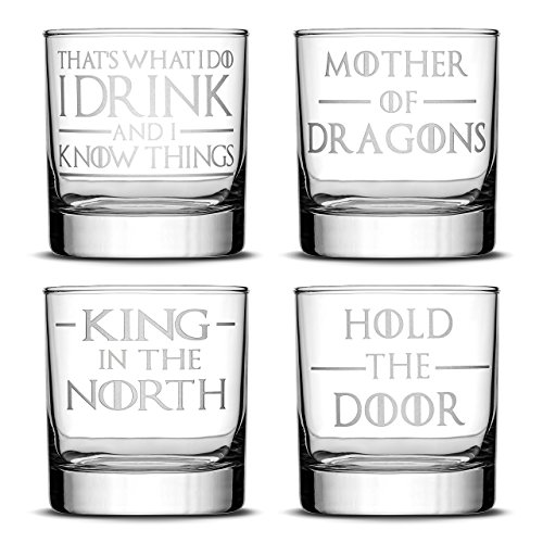 Set of 4, Premium Game of Thrones Whiskey Glasses, I Drink and I Know Things, Mother of Dragons, King in the North, Hold the Door, Drinking Gifts, Made in USA by Integrity Bottles
