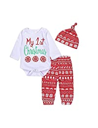 "Newborn Baby Boys Girls 'My 1st Christmas"" Long Sleeve T-shirt Pants Hat Outfits"