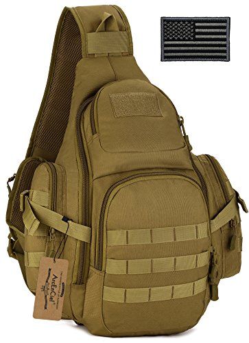 ArcEnCiel Tactical Sling Pack Backpack Military Shoulder Chest Bag with Patch (Coyote Brown)