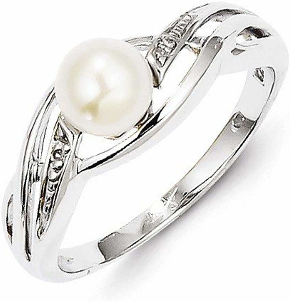 Beautiful Sterling silver 925 sterling Sterling Silver Rhodium-plated FW Cultured Pearl Diamond Pendant
