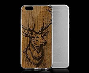 Light weight with strong PC plastic case for iPhone 4 4s Art Illustration Art Wood Grain Elk