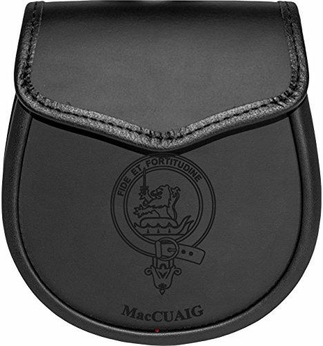 MacCuaig Leather Day Sporran Scottish Clan Crest