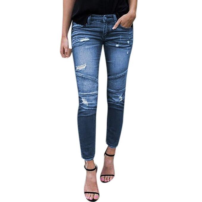 7365c6d61 Vaqueros Mujer, K-Youth® Calientes Vaqueros Rotos Mujer Verano Slim fit  Elasticos Pantalones