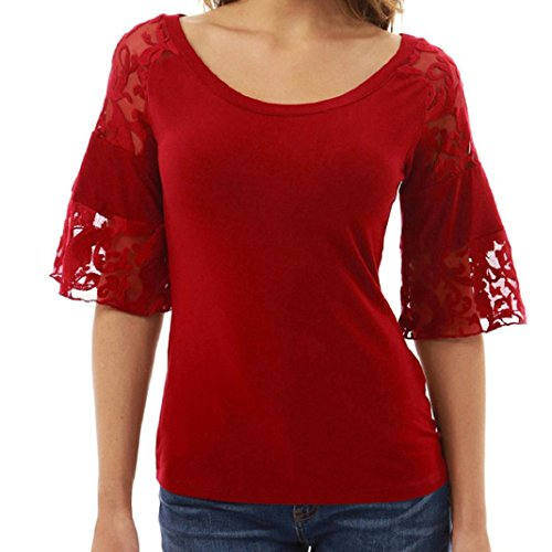 ShenPr Clearance Women Lace Stitching Hollow Half Butterfly Sleeve Slim Waist Blouse Tops T-Shirt (Red, S)