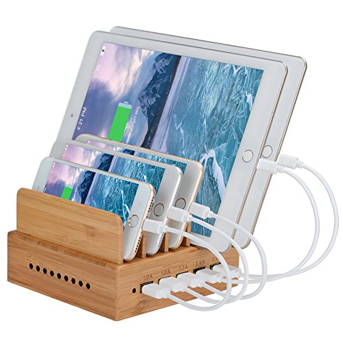 InkoTimes Bamboo Charging Station for Multiple Devices of Universal Cell Phones Tablets, Docking Station Organizer with 5-Port USB Charger (Cables Not Included)