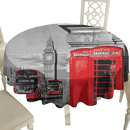 - Cranekey The Restaurant Round Tablecloth 70 Inch London,London Telephone Booth in The Street Traditional Local Cultural Icon England UK Retro Red Grey Great for,Holiday Dinner & More