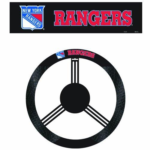 NHL New York Rangers Poly-Suede Steering Wheel (Fremont Steering Wheel Cover)