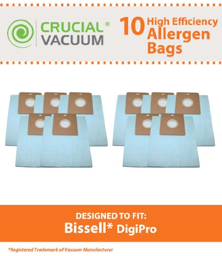 10 Canister Vacuum Bags for Bissell DigiPro Vacuum Model # 6900; Compare to Part # 32115; Designed & Engineered by Think Crucial