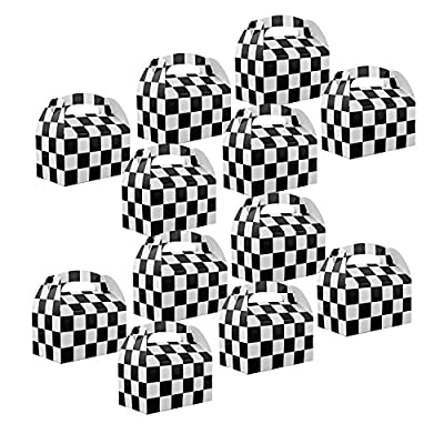 Adorox Set of 12 Checkered Racing Treat Boxes Race Car Theme Party Favors: Toys & Games