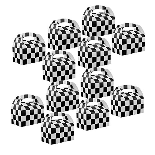 Adorox Set of 12 Checkered Racing Treat Boxes Race Car Theme Party Favors for $<!--$8.99-->