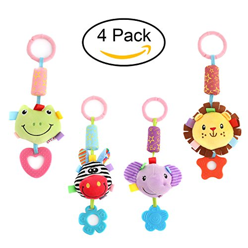 DOMIRE Baby Rattle Hanging Toys, 4 Packs Washable Infant Str
