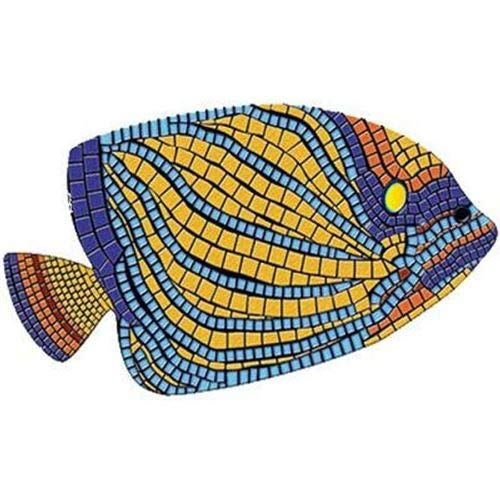"Floating Pong Angelfish Pool Mat - Mosaic Pool Emblem - 59"" by 35"" - Vinyl - Works in Most Pools - Easy Drop-in Installation"