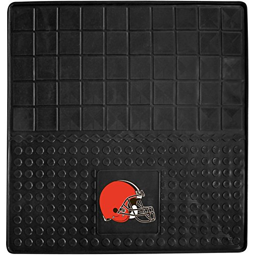 DH 31 X 31 Inches NFL Browns Cargo Mat, Football Themed Car Flatbed Trunk Vinyl Square Trunk Carpet Sports Patterned, Team Logo Fan Merchandise Athletic Team Spirit, Orange Brown White Black by DH