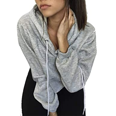 7d7a639846 Dimanul Hooded Sweatshirt Women Long Sleeve Pullover Sexy Crop Top Blouses  Teen Girls Sweatshirts Gray Clothes at Amazon Women s Clothing store