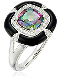 Sterling Silver Mystic Fire Topaz ,Onyx and Lab White Sapphire Ring, Size 7