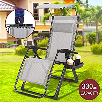 Heavy Duty Zero Gravity Outdoor Lounge Chairs Adjustable Folding Patio Reclining Chairs Beach Chairs with Canopy Sunshade Cup Holder Grey 1 Piece Chair