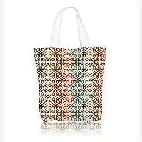 Canvas Zipper Tote Bag Printed Seamless Islamic Pattern with Ethnic Motifs Decorations for Home Print Brown and Beige Reusable Canvas Zipper Tote Bag Printed 1182% Cotton W16.5xH14xD7 INCH by Muyindo