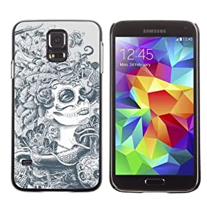 Licase Hard Protective Case Skin Cover for Samsung Galaxy S5 - Sugar Skull Abstract Art by Maris's Diary