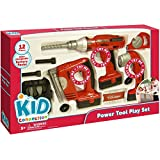 Power Tool Play Set of 12 Pieces: Electric Drill, Jig Saw, Flashlight, Drill Bit Case, Flathead Bit, Phillips Bit, 2 Screws, 2 Nuts, Tape Measure, Measurement Card by Kid Connection