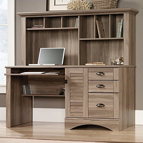Sauder 415109 Salt Oak Finish Harbor View Computer Desk with - Computer Armoire Sauder Furniture Office