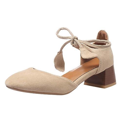 Mujer Sandalias Beiamina Tacón Ancho Zapatos Elegante Cordones m8vn0NywO
