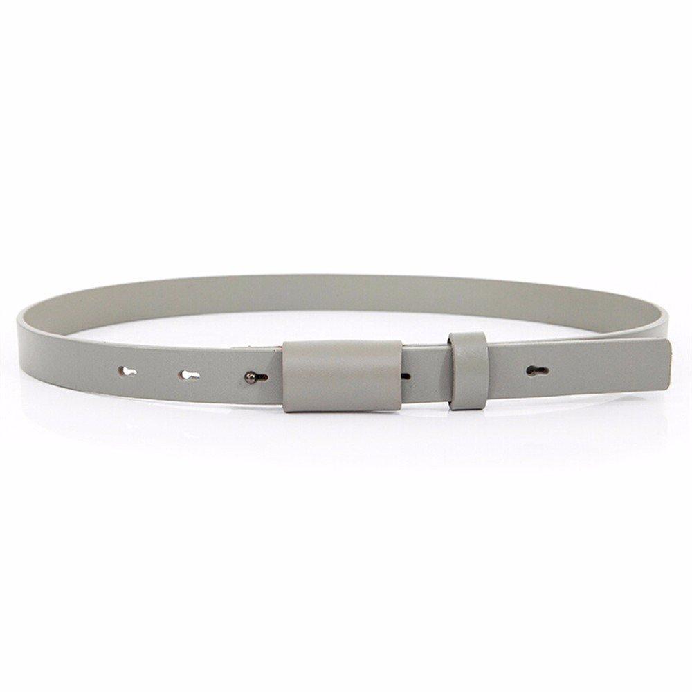 SAIBANGZI Ms Women All Seasons Stylish 2Cm Head Leather Belt Fine Simple Dress Decoration Belt Girlfriend Present Gray 69-85Cm