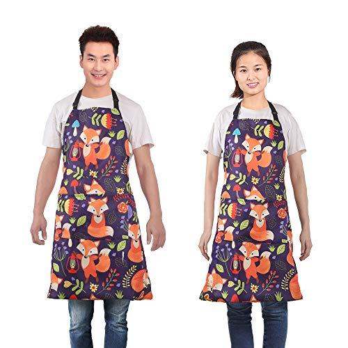 MissOwl Adjustable Bib Apron Extra Long Ties with Pockets Home Kitchen Cooking Baking Gardening for Women Men Fox 3