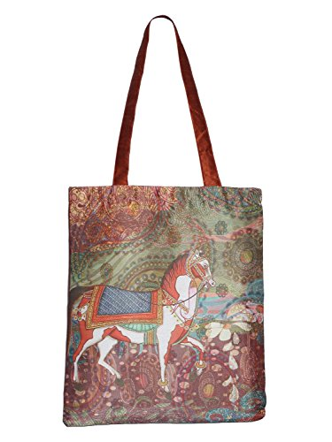 Digitally Printed Shopping Bag Tote Set Of 3 Small Medium Large Faux Silk Dupion,Dancing Horse - Silk Tote