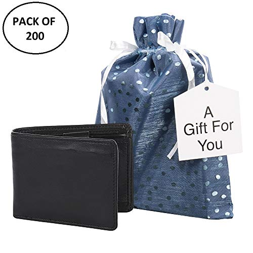 Small Premium Fabric Gift Bags (Pack of 200) Organza with Lining Satin Ribbon Holiday Christmas - Blue Polka Dot -11.75