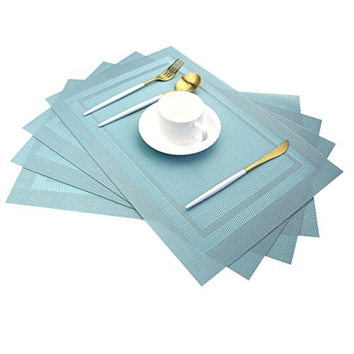 Pigchcy Placemats,Heat Insulation Non Slip Plastic Placemats,Washable Easy to Clean Woven Vinyl Kitchen Stain Resistant Placemats for Dining Table Set of 4(Sky Blue) (Light Blue Placemats)