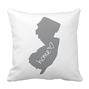 Emvency Throw Pillow Cover Home New Jersey Decorative Pillow Case Love Home Decor Square 20 x 20 Inch Cushion Pillowcase