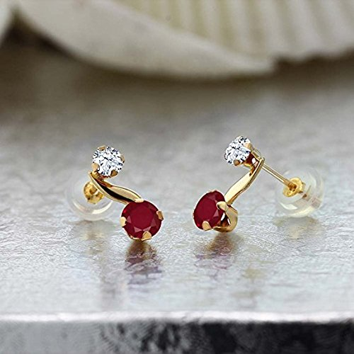 0.82 Ct Red Ruby Gemstone Birthstone 14K Yellow Gold Women's Earrings