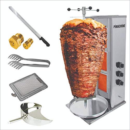 Alpina Doner Kebab Machine |Döner Kebab Grill Machine 3 Burner LPG - Propane Vertical Broiler |Full Economic Set Meat Capacity 40 kg / 88 lbs. Grill & GYRO & SHAWARMA & Tacos Al Pastor