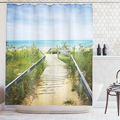 Ambesonne Seaside Decor Collection, Boardwalk over Dunes at Beach Pinery and Provincial Park Ontario Canada Holidays Picture, Polyester Fabric Bathroom Shower Curtain Set with Hooks, Green Ivory