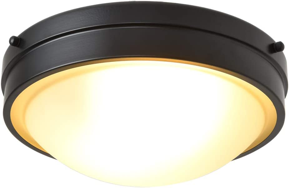 Berliget 2 Lights Black Flush Mount Ceiling Light, 12 Inch Ceiling Lighting for Kitchen, Bedroom, Living Room, Corridor