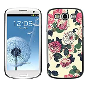 Paccase / SLIM PC / Aliminium Casa Carcasa Funda Case Cover para - Flowers Wallpaper Pink Green Beige - Samsung Galaxy S3 I9300