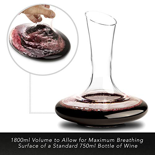 Beautiful, Crystal Wine Decanter Set, Hand Blown, 60 fluid oz - Wine Aerating Decanters with Elegant  Black and Gold Velvet Sleeve  - Drip-Free, Lead-Free, BPA-Free - Table Aerator Carafe by The Urbane Apothecary (Image #2)