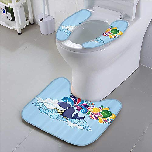 Auraisehome Toilet seat Cover Whale Clouds with Rainbow Clods its Head Multi Colored Soft Non-Slip (Multi Colored Slim Cd)