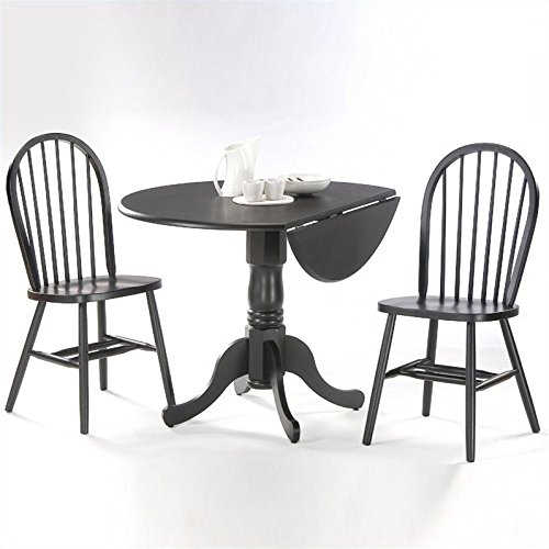 Black Drop Leaf Pedestal Table - International Concepts 3-Piece 42-Inch Dual Drop Leaf Pedestal Table with 2 Windsor Chairs, Black Finish
