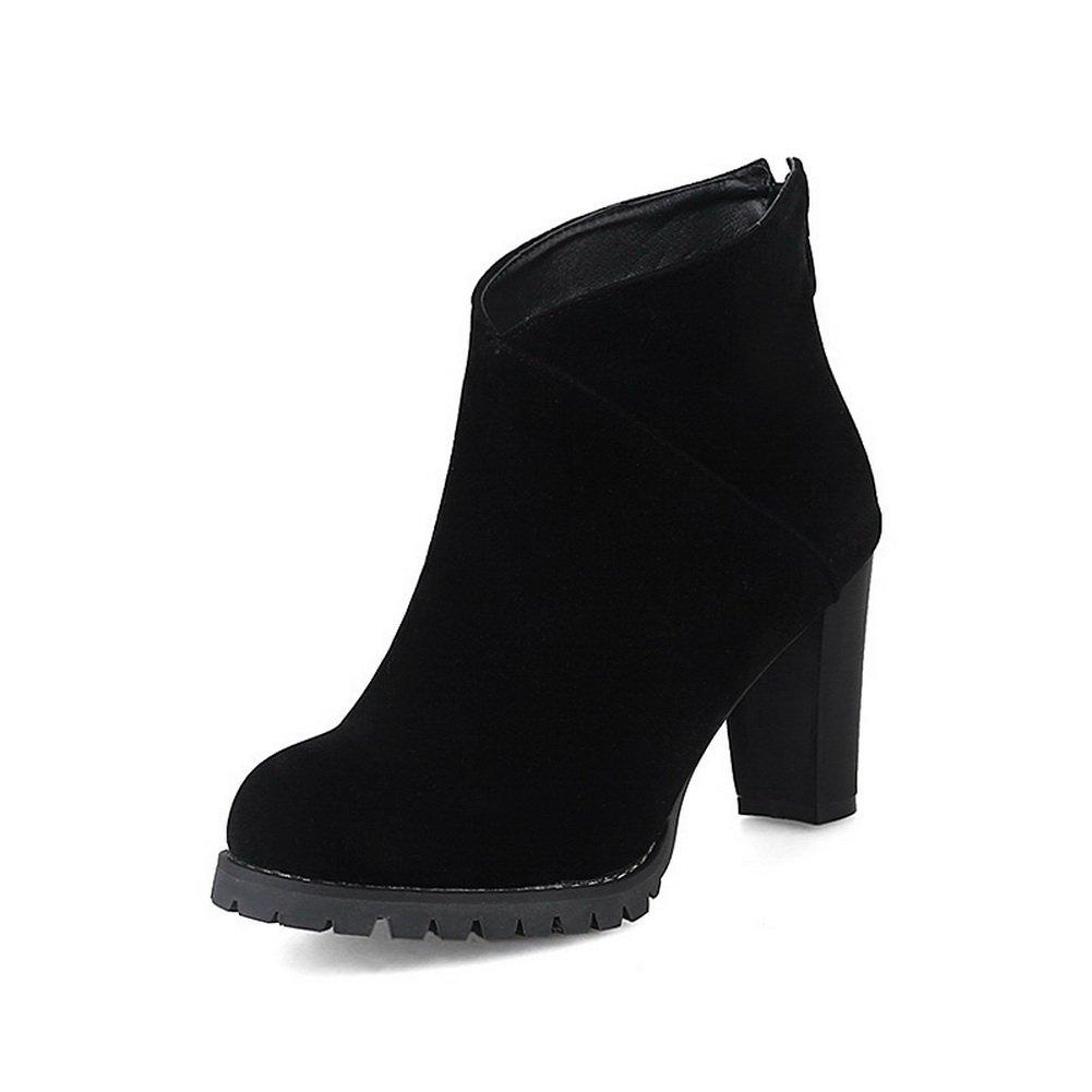 BalaMasa Womens Bridal Dress Slip-Resistant Black Suede Boots ABL10227-8 B(M) US