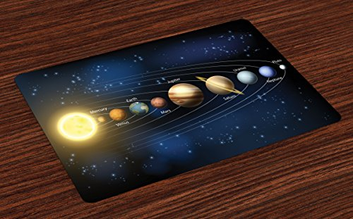 Lunarable Galaxy Place Mats Set of 4, Realistic and Scientific Illustration of The Planets of Solar System in Milky Way, Washable Fabric Placemats for Dining Room Kitchen Table Decor, Multicolor by Lunarable