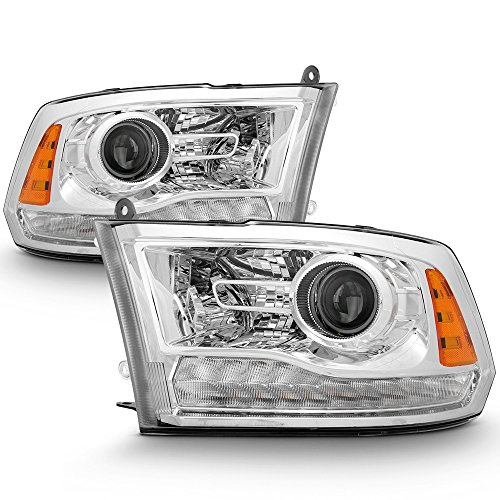 ACANII - For Factory Chrome 2013-2018 Dodge Ram 1500 2500 3500 Projector Headlights Headlamps Driver + Passenger -