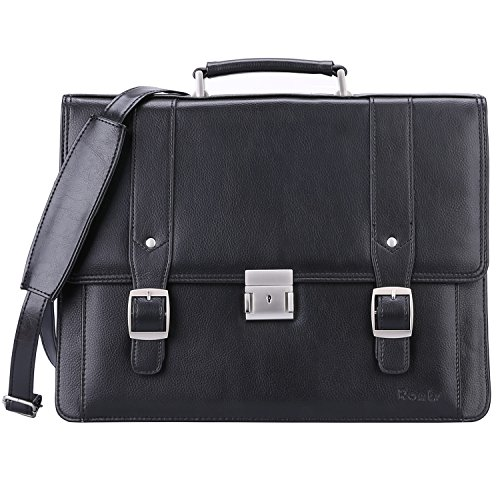 Ronts Men's PU Leather Briefcase Messenger Bag 15 Inch Macbook Laptop Shoulder Bag 015 (Laptop 17' Brief Leather)