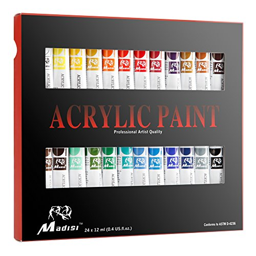 Madisi Acrylic Paint Set - 24 Vivid Colors, 12 ML Tubes